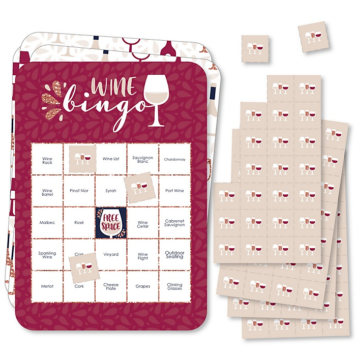 But First, Wine - Bingo Cards and Markers - Wine Tasting Party Shaped Bingo Game - Set of 18