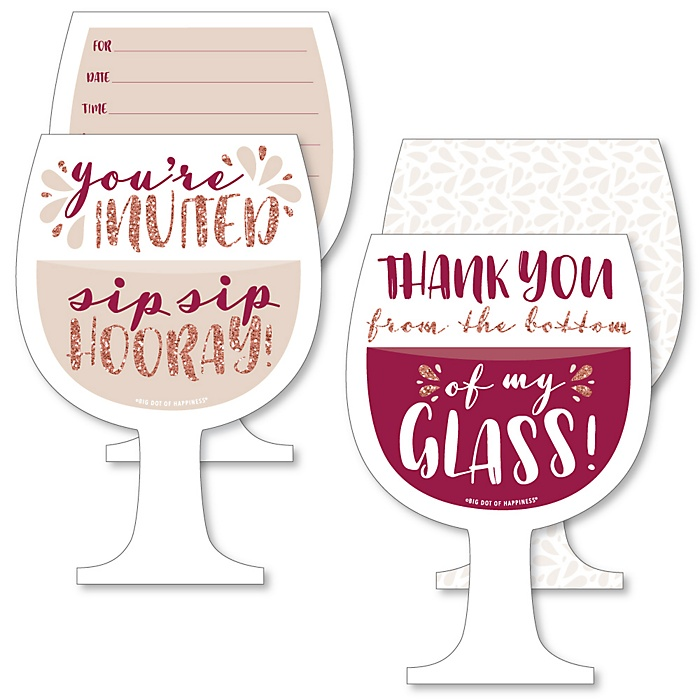 But First, Wine - 20 Shaped Fill-In Invitations and 20 Shaped Thank You Cards Kit - Wine Tasting Party Stationery Kit - 40 Pack