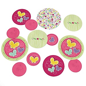 Playful Butterfly and Flowers - Baby Shower or Birthday Party Table Confetti - 27 ct