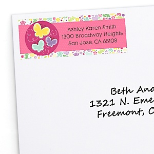 Playful Butterfly and Flowers - Personalized Baby Shower Return Address Labels - 30 ct