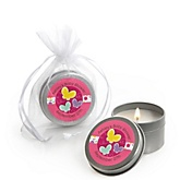 Playful Butterfly and Flowers - Candle Tin Personalized Baby Shower Favors