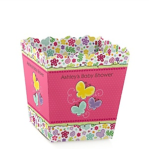 Playful Butterfly and Flowers - Personalized Baby Shower Candy Boxes