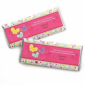 Playful Butterfly and Flowers - Personalized Candy Bar Wrapper Baby Shower or Birthday Party Favors - Set of 24