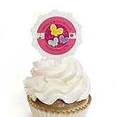 Playful Butterfly and Flowers - 12 Cupcake Picks & 24 Personalized Stickers - Baby Shower Cupcake Toppers