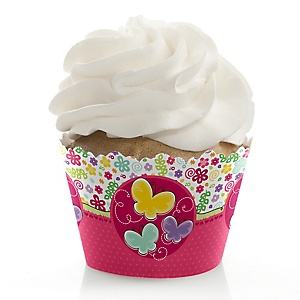 Playful Butterfly and Flowers - Baby Shower Decorations - Party Cupcake Wrappers - Set of 12