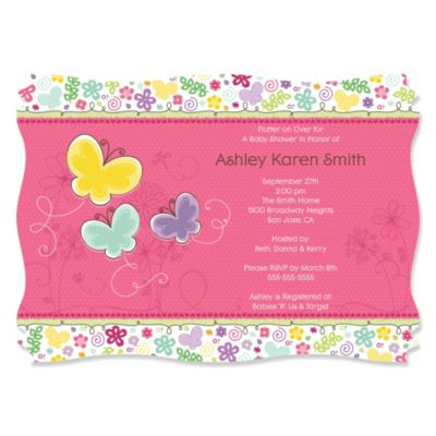 Playful Butterfly and Flowers Personalized Baby Shower Invitations