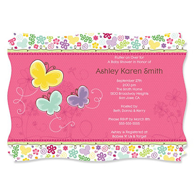 playful butterfly and flowers - personalized baby shower, Baby shower invitations