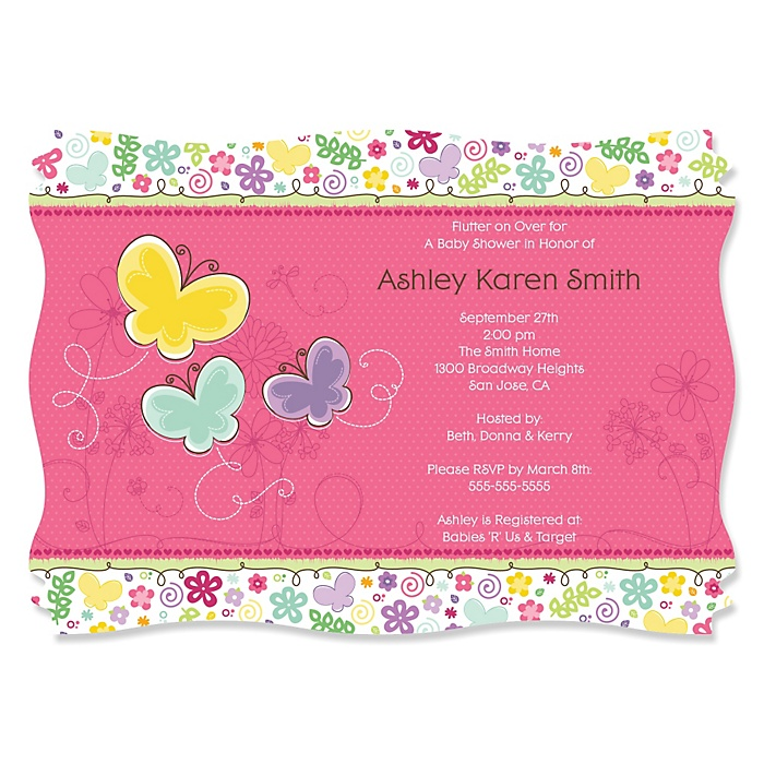 Playful Butterfly and Flowers - Personalized Baby Shower Invitations - Set of 12