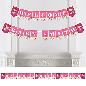 Playful Butterfly and Flowers - Personalized Party Bunting Banner & Decorations