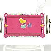 Playful Butterfly and Flowers - Personalized Baby Shower Placemats