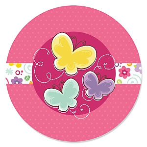 Playful Butterfly and Flowers - Baby Shower Theme