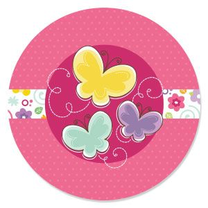 Playful Butterfly And Flowers   Baby Shower Theme