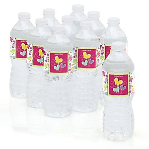 Playful Butterfly and Flowers - Personalized Party Water Bottle Sticker Labels - Set of 10