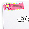 Playful Butterfly and Flowers - Personalized Birthday Party Return Address Labels - 30 ct