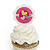 Playful Butterfly and Flowers - Personalized Birthday Party Cupcake Pick and Sticker Kit - 12 ct