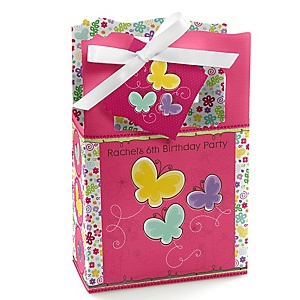 Playful Butterfly and Flowers - Personalized Birthday Party Favor Boxes - Set of 12