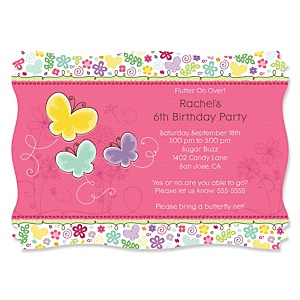 Playful Butterfly and Flowers - Personalized Birthday Party Invitations - Set of 12