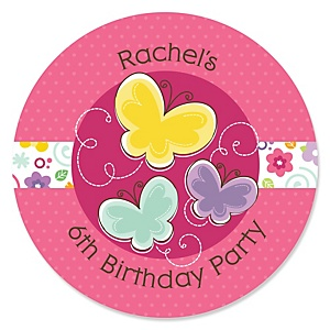Playful Butterfly and Flowers - Personalized Birthday Party Sticker Labels - 24 ct