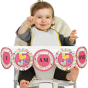 Playful Butterfly and Flowers 1st Birthday - I am One - First Birthday High Chair Banner