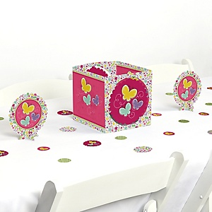 Playful Butterfly and Flowers - Baby Shower or Birthday Party Centerpiece and Table Decoration Kit