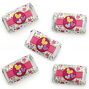 Playful Butterfly and Flowers - Mini Candy Bar Wrapper Stickers - Baby Shower or Birthday Party Small Favors - 40 Count