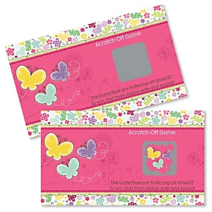 Playful Butterfly and Flowers - Baby Shower Game Scratch Off Cards - 22 ct