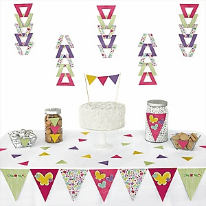 Playful Butterfly and Flowers -  Triangle Party Decoration Kit - 72 Piece