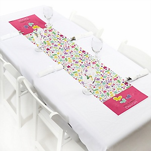 Playful Butterfly and Flowers - Personalized Party Petite Table Runner