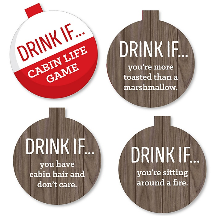 Drink If Game - Cabin Themed Games - Log Cabin Party Supplies
