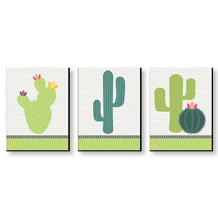 Prickly Cactus Party - Nursery Wall Art, Kids Room Decor & Fiesta Home Decorations - 7.5 x 10 inches - Set of 3 Prints