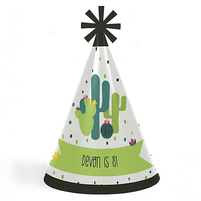 Prickly Cactus Party - Personalized Cone Fiesta Birthday Party Hats for Kids and Adults - Set of 8 (Standard Size)