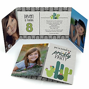 Prickly Cactus Party - Personalized Fiesta Birthday Party Photo Invitations - Set of 12