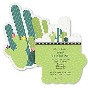 Prickly Cactus Party - Shaped Fiesta Birthday Party Invitations - Set of 12