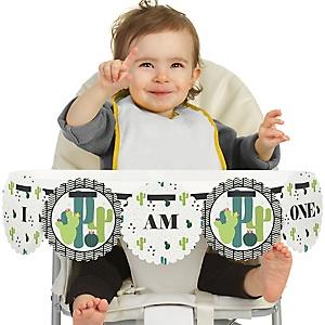 Prickly Cactus Party 1st Birthday - I am One - First Birthday High Chair Fiesta Birthday Banner