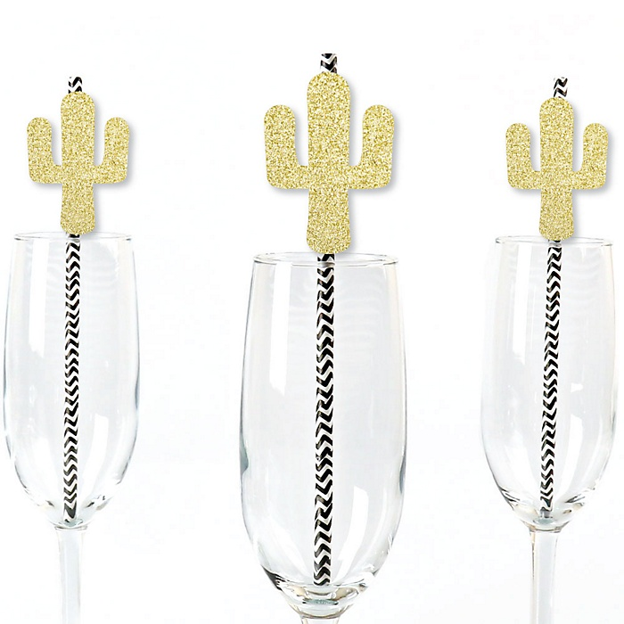 Gold Glitter Cactus Party Straws - No-Mess Real Gold Glitter Cut-Outs and Decorative Christmas Cactus Party Paper Straws - Set of 24