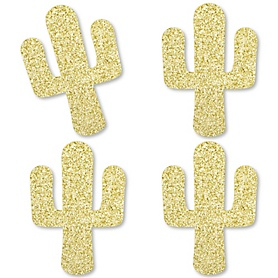 Gold Glitter Cactus - No-Mess Real Gold Glitter Cut-Outs - Christmas Cactus Party Confetti - Set of 24
