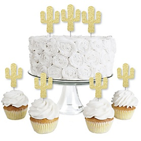 Gold Glitter Cactus - No-Mess Real Gold Glitter Dessert Cupcake Toppers - Christmas Cactus Party Clear Treat Picks - Set of 24