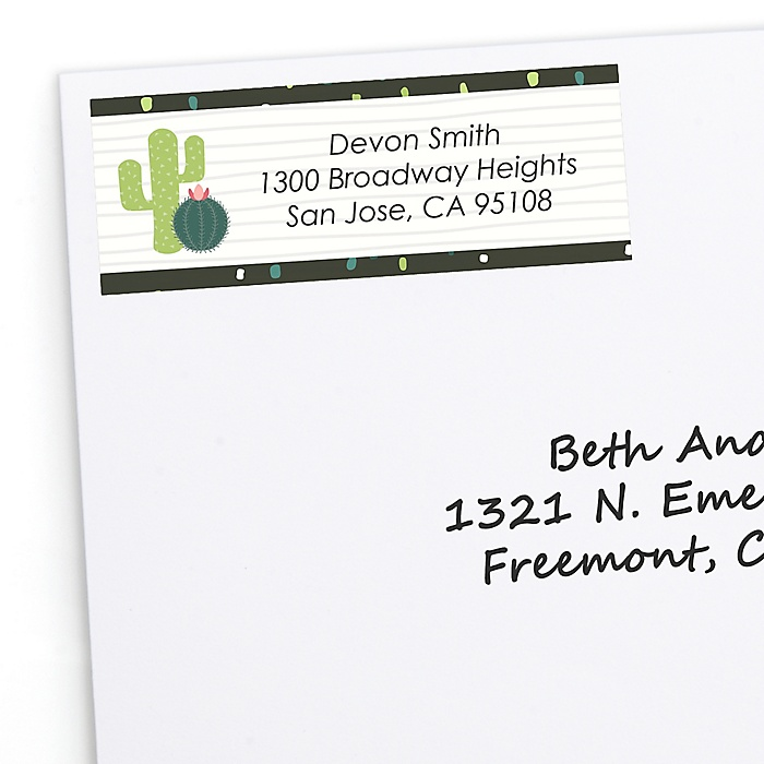 Prickly Cactus Party - Personalized Fiesta Party Return Address Labels - 30 ct