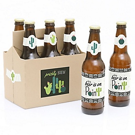 Prickly Cactus Party - Decorations for Women and Men - 6 Fiesta Party Beer Bottle Label Stickers and 1 Carrier