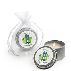 Prickly Cactus Party - Personalized Fiesta Party Candle Tin Favors - Set of 12