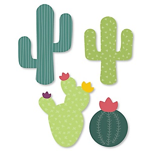 Prickly Cactus Party - DIY Shaped Fiesta Party Paper Cut-Outs - 24 ct