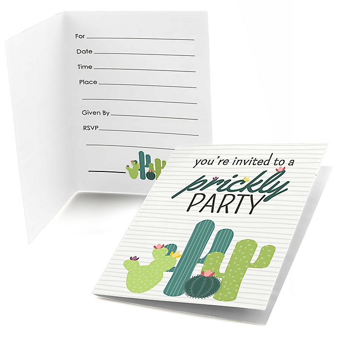 Prickly Cactus Party - Fill in Fiesta Party Invitations - 8 ct