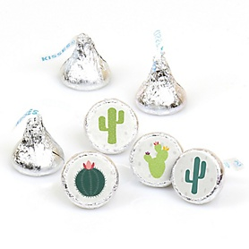 Prickly Cactus Party - Round Candy Labels Fiesta Party Favors - Fits Hershey's Kisses - 108 ct
