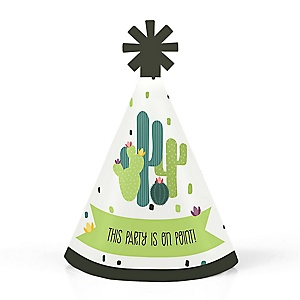 Prickly Cactus Party - Personalized Mini Cone Fiesta Party Hats - Small Little Party Hats - Set of 10
