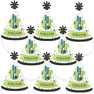 Prickly Cactus Party - Mini Cone Fiesta Party Hats - Small Little Party Hats - Set of 8