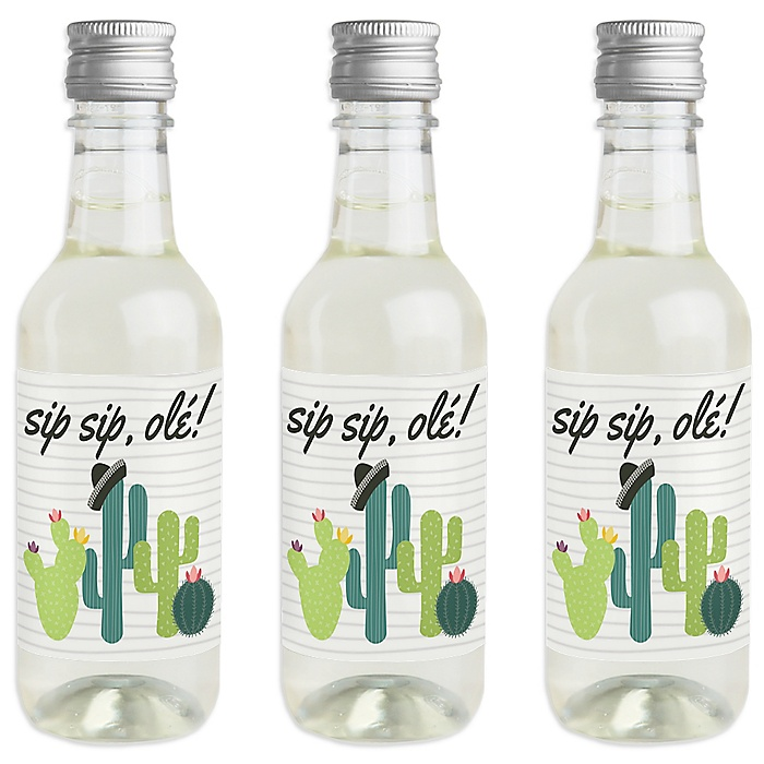 Prickly Cactus Party - Mini Wine and Champagne Bottle Label Stickers - Fiesta Party Favor Gift for Women and Men - Set of 16