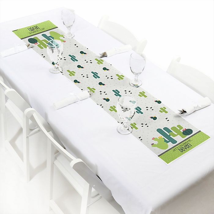 """Prickly Cactus Party - Personalized Petite Fiesta Party Paper Table Runner - 12"""" x 60"""""""