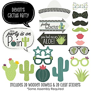 Prickly Cactus Party - 20 Piece Fiesta Party Photo Booth Props Kit