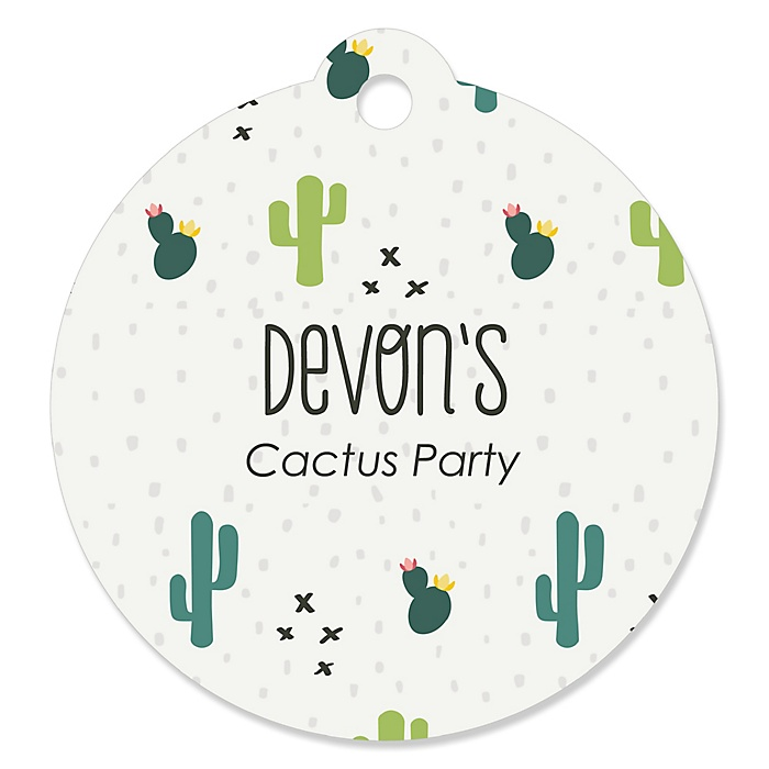 Prickly Cactus Party - Personalized Fiesta Party Favor Gift Tags - 20 ct