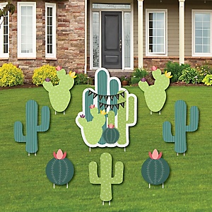 Prickly Cactus Party - Yard Sign & Outdoor Lawn Decorations - Fiesta Party Yard Signs - Set of 8
